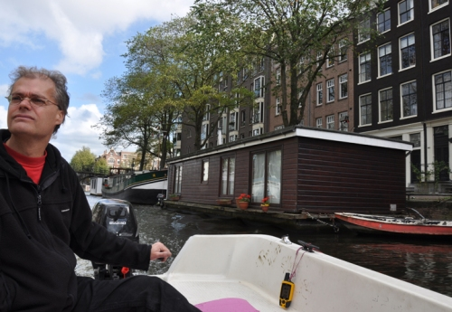 With our friend Anter cruising past our first houseboat on the Prinsengracht