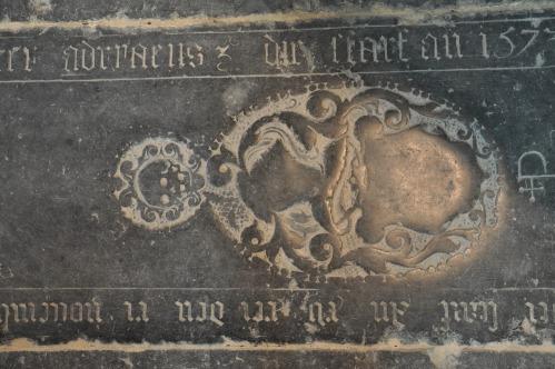 Engraved floor slab tombstone