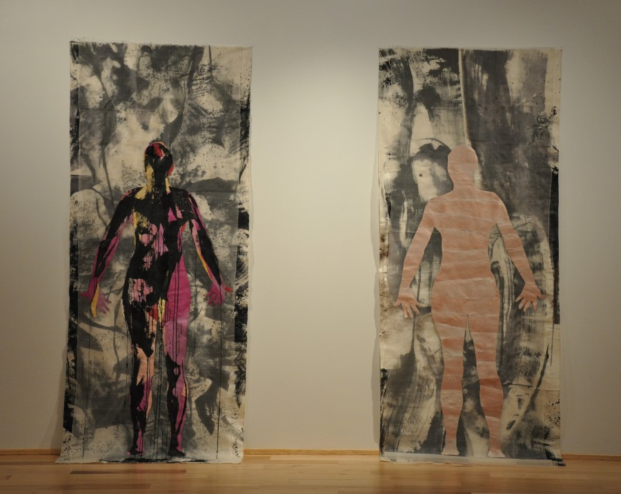 Tove's 10ft tall fabric, fish leather and pigment collages.