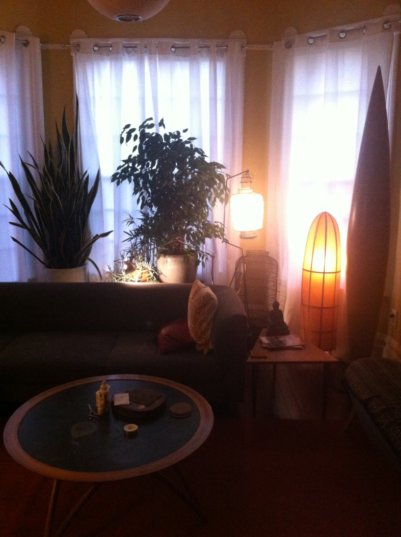 The living room at dusk