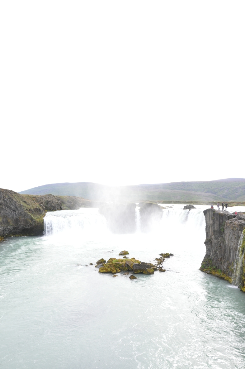 Goðafoss where in 1000AD the Icelandic Loregiver Þorgeir Ljósvetningagoði abnegated Nordic paganism in favor of the minority religion Christianity for his whole nation by hurling carved icons of his deposed gods over the falls.