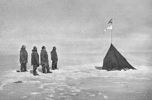 "Amundsen and team with the  ""Polheim"".  December 17, 1911"