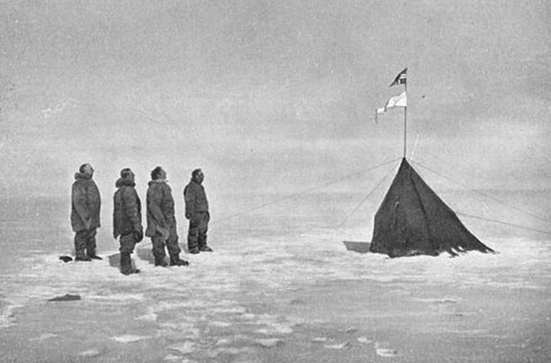 "Amundsen and team with the  ""Polheim"".  December 17, 1911"