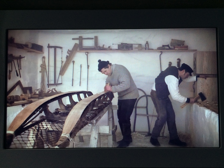 Working on the sleds in the wood workshop carved out of the Antarctic snow
