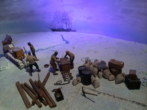 Diorama of preparations on the Antarctic ice