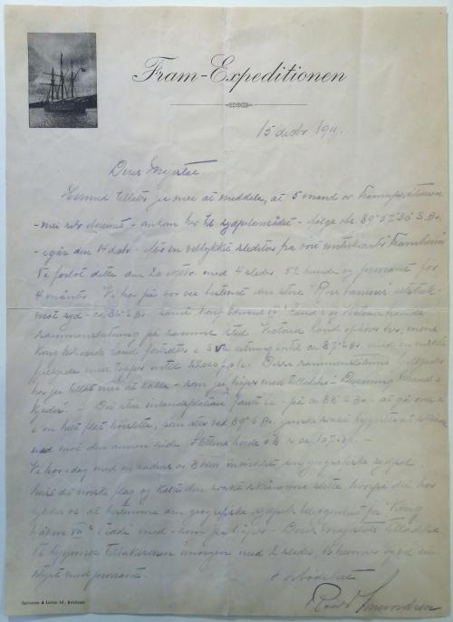 Amundsen's letter to King Haakon VII